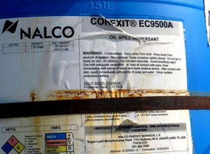 A label on a canister of Corexit. (Photo: Courtesy of Brokovich.com)