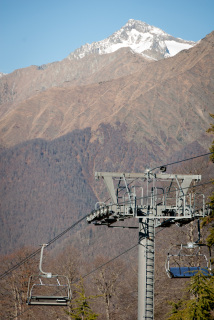 Ski lifts at Gazprom's Laura Ski Resort running meters from the protected Caucasus reserve. (Photo: Nils Bøhmer)