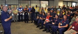 Coast Guard Admiral Thad Allen giving a briefing at Unified Command in New Orleans in June, 2010. (Photo: U.S. Coast Guard photo by Petty Officer Ayla Kelley)