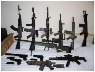 A screen shot of semi automatic weapons posted to the Facebook page of a BP critic. (Photo courtesy of an anonymous source)