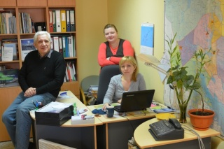 Bellona Murmansk's staff, Andrey Zolotkov, Anna Kireeva and Olga Molokova. (Photo: Courtesy of Thomas Nilsen/The Barents Observer)