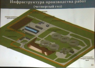 Planned 'excavation' works at the radioactive waste storage facilities of the AECC's Site 310 during the 4th year of decommissioning. (From the AECC's presentation at the public hearing in Angarsk, December 5, 2014)