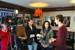 Bellona's Whiriskey and Bronder speaking with Ukrainian national television on CCS for Ukraine in October 2013. (Photo: Charles Digges)