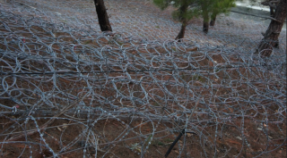 Barbed wire laid around the perimeter on the beach side of Tkachev's fence, as if to guard against a sea invasion. (Photo: Bellona/EWNC/Greenpeace)