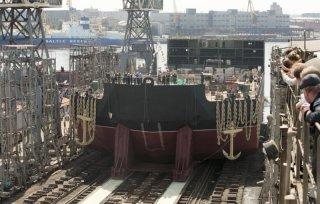 The Akademik Lomonosov puts in for further construction at the Baltiisky Zavod. (Photo: Baltiisky Zavod).